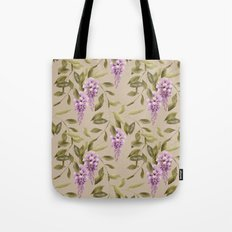 Seamless floral retro pattern background flowers ornament wallpaper textile Illustration glicinia Tote Bag