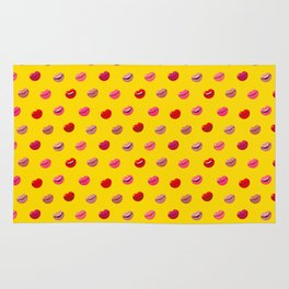 Red, pink and nude lips on yellow background pattern Rug