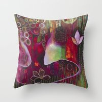 "flora bowley Throw Pillows featuring ""Surrender"" Original Painting by Flora Bowley by Flora Bowley"