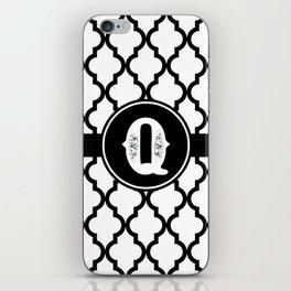 Black Monogram: Letter Q iPhone Skin