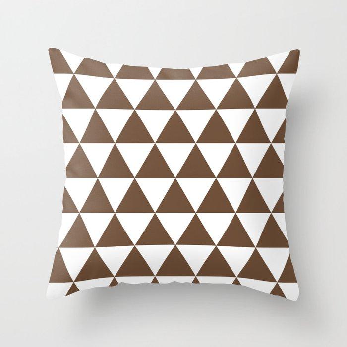 Triangles (Coffee/White) Throw Pillow