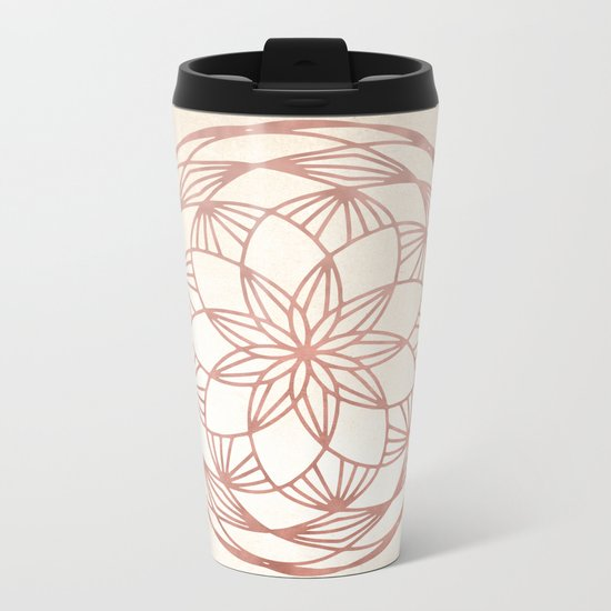 Mandala Bud Rose Gold on Cream Metal Travel Mug
