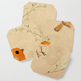 Robin in the hedge tea stain Coaster