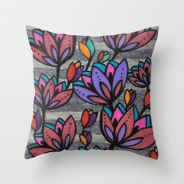 Cinza e Roxo Throw Pillow