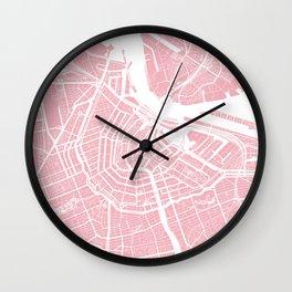 Pink City Map of Amsterdam, Netherlands Wall Clock