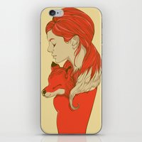 lady iPhone & iPod Skins featuring Lady Fox by Huebucket