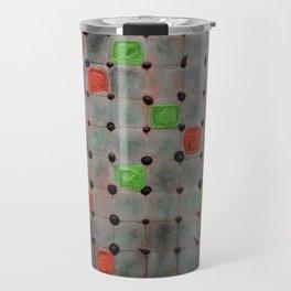 Grid with Green and Orange Highlights Travel Mug