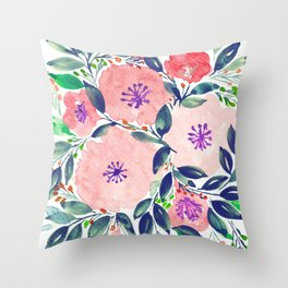 hand painted flowers_2c Throw Pillow