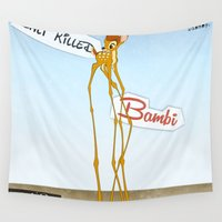 bambi Wall Tapestries featuring Dalí killed Bambi. by MajorTom