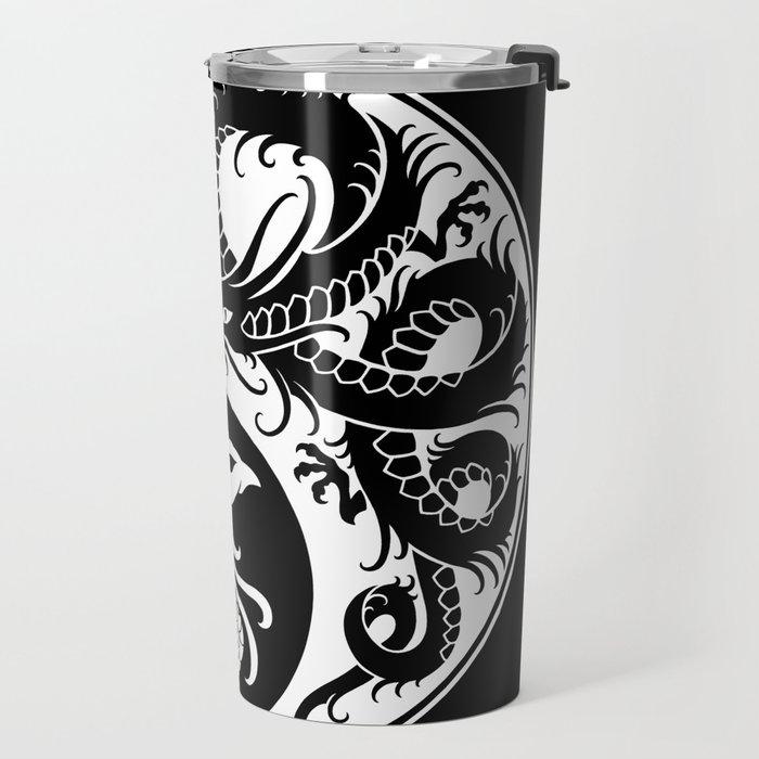 White and Black Dragon Phoenix Yin Yang Travel Mug