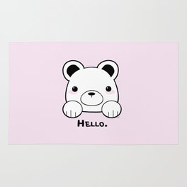 Pink Girly Girl Hello Bear Kawaii! Awww She Just Wants To say Hello! Rug