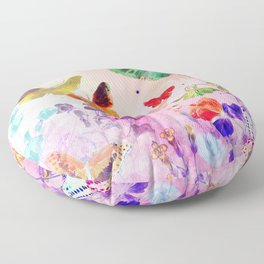 Blush Butterflies & Flowers Floor Pillow
