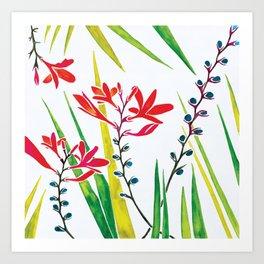 Montbretias, Orange Flower, Watercolour Art Print