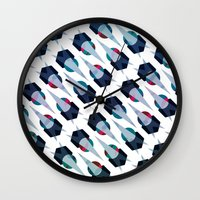 arya Wall Clocks featuring Graphic Pattern - Geometric, Spacey, Angled by Hinal Arya