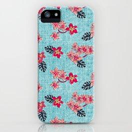 Frangipani Sun Bleached Aqua iPhone Case