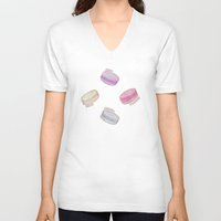macaron V-neck T-shirts featuring Macaron Pattern - raspberry, pistachio, lemon & blackberry by Perrin Le Feuvre