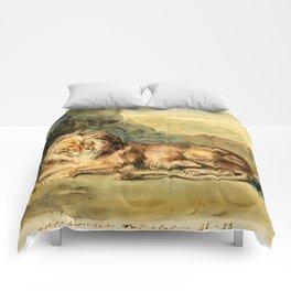 """Eugène Delacroix """"Lying Lion in a Landscape"""" Comforters"""