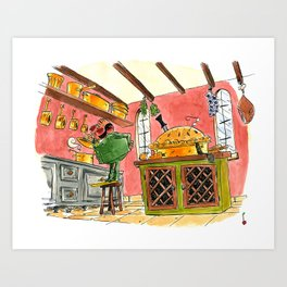 Reverend Green, with the dagger, in the kitchen Art Print
