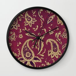Paisley in Gold Wall Clock