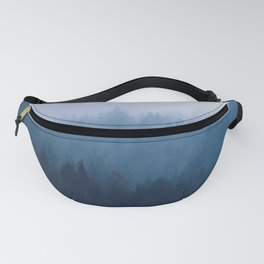 Misty Turquoise Blue Pine Forest Foggy Ombre Monochrome Trees Landscape Fanny Pack