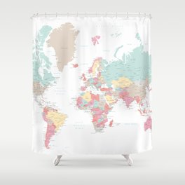 Pastel world map with cities Shower Curtain