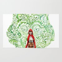 red riding hood Area & Throw Rugs featuring Red Riding Hood by Stephane Lauzon