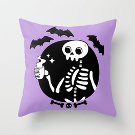 Death Before Decaf // Purple Throw Pillow