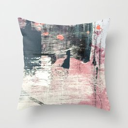Sweet tooth [7]: a colorful abstract mixed media piece in pink, blues, and white Throw Pillow