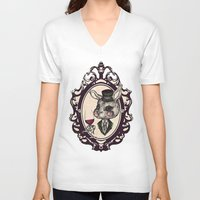 wine V-neck T-shirts featuring Wine Lovers by AKIKO