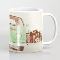 volkswagon Mugs featuring Vintage Volkswagen Bus (Green Edition) by Laura Ruth