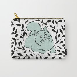 Teal Laurel Cat Carry-All Pouch
