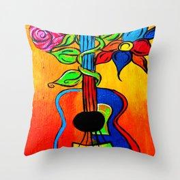 Spanish Guitar painting Throw Pillow