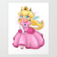 princess peach Art Prints featuring Princess Peach by Chimi-uzz