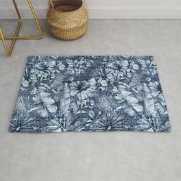 Tropical Blue Jeans Denim Pattern Rug