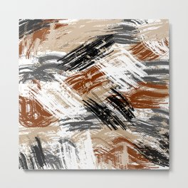 earth abstract painting in brown grey black and white Metal Print