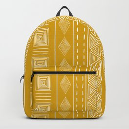 Mustard Yellow Tribal Ethnic Pattern | Sun Illustration | Vertical Stripes Backpack