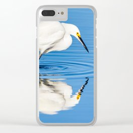 Snowy Egret Reflection at Bolsa Chica Ecological Reserve in Huntington Beach, California Clear iPhone Case