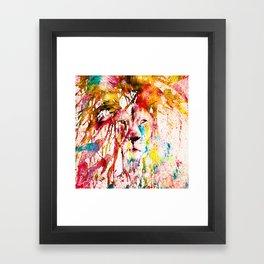 Wild Lion Sketch Abstract Watercolor Splatters Framed Art Print