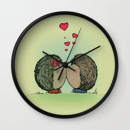 Hedgehogs in love Wall Clock