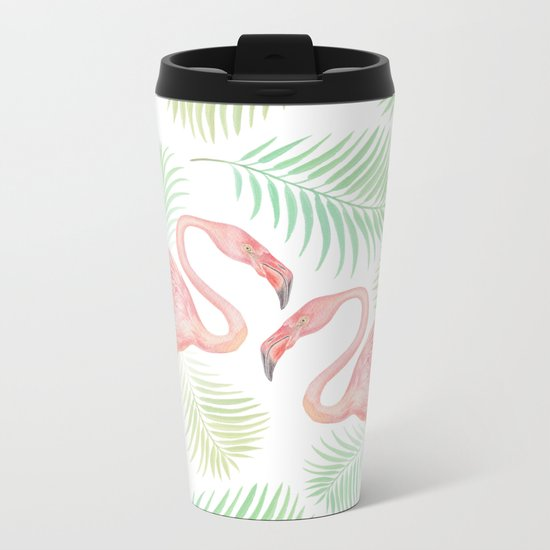 Flamingo Watercolour | Tropical Print | Palm Tree Leaves Metal Travel Mug