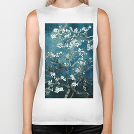 Van Gogh Almond Blossoms : Dark Teal Biker Tank