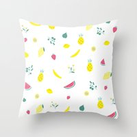 fruits Throw Pillows featuring Fruits by haroulita