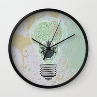 gore Wall Clocks featuring Think Martian  by Geekleetist