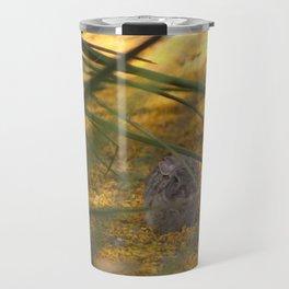 Hidden Rabbit Among Golden Palo Brea Flowers Travel Mug