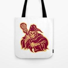 Grim Reaper Lacrosse Defense Pole Retro Tote Bag