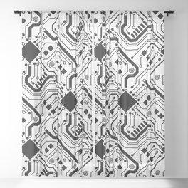 Printed Circuit Board - Black on White Sheer Curtain