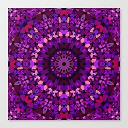 Purple Petal Garden Mandala Canvas Print