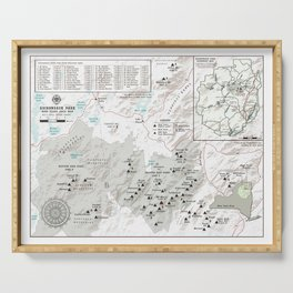 Adirondack 46 High Peaks Map [Black and White] Serving Tray