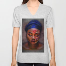 African American Portrait - The Color God Sees When He Closes His Eyes to Dream Unisex V-Neck