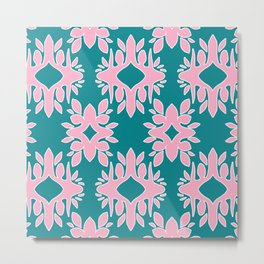 Katherine - Digital Symmetrical Abstract in Pink and Teal Metal Print